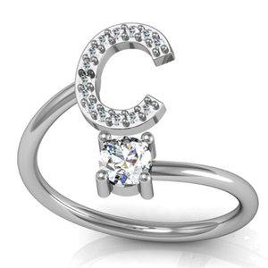 A-Z 26 Английский алфавит Кольцо Кристалл Rhinestone Открытие Регулируемый Кольцо Очарование Дамы мужские Простые Инициалы Кольцо Лучший подарок на Валентина