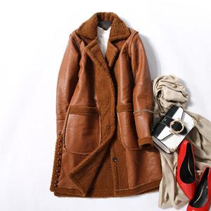 Cappotto di pelliccia di lana Giacche lunghe di moda Donna Autunno Inverno Giacche calde Tute di pelle scamosciata Soprabiti Soprabito 2019 Marrone Verde