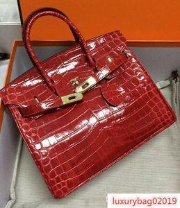 35CM 30CM 25CM 2019 Big Brand Women Totes Shoulder bags With Lock Lady Cowhide Alligator Genuine leather Fashion Handbag wholesale