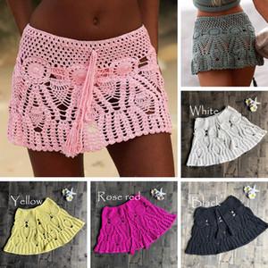 여성 섹시한 크로 셰 뜨개질 술 해변 커버 업 스커트 코튼 수영복 융합 스커트 캐주얼 해변 해변 수영복 레이스 See-Through Slim Slim Mini Skirts