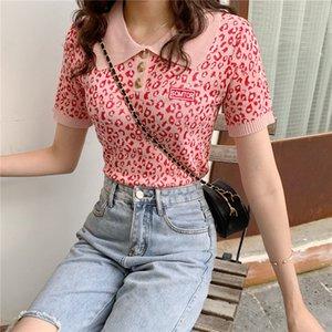 Mode féminine Casual manches courtes tricot haut col carré T-shirt Femmes dames Slim Hauts léopard imprimé floral TShirt
