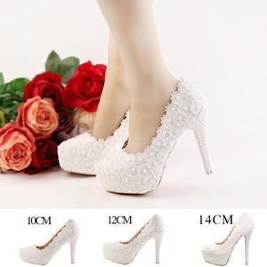Fashion luxury Lace Flowers Pearls Bridal Wedding High Heels Shoes Bridesmaid Prom Party Designer Women Shoes 10cm 12cm 14cm Heel