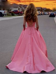 Pink Satin Long Evening Dresses Spaghetti Straps V-Neck Lace Up Back Formal Prom Party Dress for Women