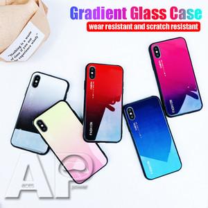 2019 universal gradiente de vidro temperado phone case para iphone xs max xr x 8 7 6 6 s plus com embalagem opp
