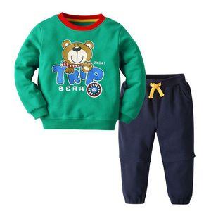 Erkekler Marka Kızlar Sportwear Babys İki Adet için Çocuk Tasarımcı eşofman Lüks Ayı Desen Hoodie Sweatpant Açık 2020 Sonbahar için takımlar