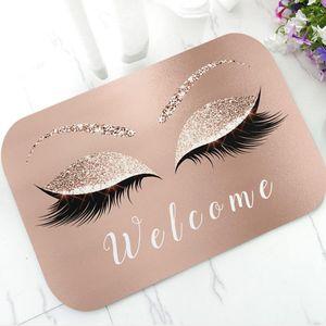Модные розовое золото Блеск ресницу Ресницы Добро пожаловать циновка двери Sparkly макияж Rubber Doormat Ковер Ковер Chic Home Beauty Studio Decor