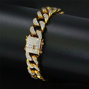 14mm Men Gold Bracelet Ice Out Luxuy Hiphop Jewelry Top Quality Zriconia Chains Full Diamond Hip Hop Bangle 7 Inch Cuba Chain