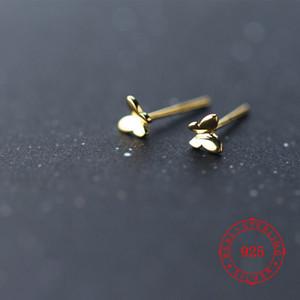 Yüksek kaliteli küçük öğesi İyi Hediye Gümüş 925 altın kaplama Mini Kelebek Kulak gençler için toptan ucuz sevimli damızlık küpe damızlık