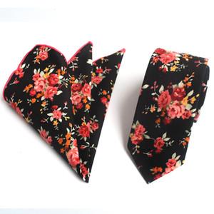 Fonte de fabricantes de ações novo floral versão estreita algodão tie algodão quadrado toalha de algodão gravata bolso toalha set 6 cm 100 pcs