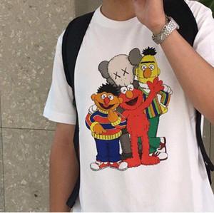 Moda Verão Mulheres T Mens Designer camisetas Camisa Uniqlo * Kaws * Sesame Street Marca T Shirt Unisex Tops Hot versão de luxo