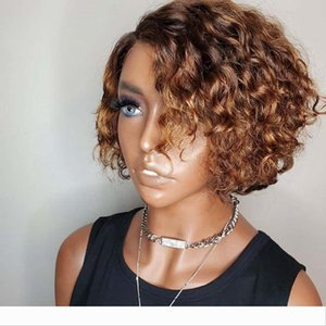 Short Bob Natural Ombre 2Tone Color Curly Human Hair Wigs for Summer 150Density 13x6 Lace Front Brazilian Hair Wigs Preplucked