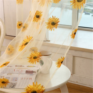 2019 New Curtain Transparent Screen Sunflower Printed Colorful Window Door Curtain for Home Party Living Room Decorations Wholesale H101
