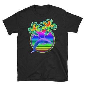 Retro Sun Rainbow Summer Palm Trees Infared T Shirt Dolphins Lover Colors Funny Tee Shirt