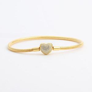 18K 옐로우 골드 도금 CZ 다이아몬드 하트 팔찌 원래 상자 세트 판도라 925 실버 뱀 체인 팔찌 여성을위한 웨딩 쥬얼리