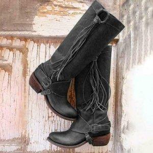 Heißen Selling Womens Long Boots PU-Leder-Schuhe Knielänge Quaste niedrige Absätze Hohe Bootie Jahrgang -B5