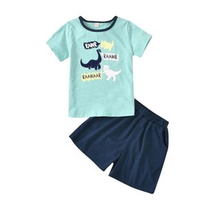 Toddler Dinosaur Outfits Kids Baby Boys Short Sleeve Letter Tops+solid Shorts Outfits Kids Clothes Boy Children Set Ropa De Niño