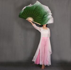 Nuova personalizzato verde scuro gradiente bianco di danza del ventre Fan reale Silk Veils Coppia cerchio mezzo doppi strati Dance Women Fan Props