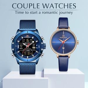 Relógio de pulso de aço casal Relógios NAVIFORCE Top Marca inoxidável quartzo para homens e mulheres Moda Presentes Casual AJUST.RELÓG Venda