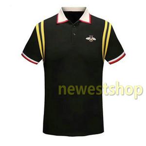 2020 verano de la ropa de marca diseñador de los hombres tela de estampado de rayas camiseta polo de la manera bordado de abeja camiseta Las mujeres de cuello ocasional da vuelta-abajo de la camiseta