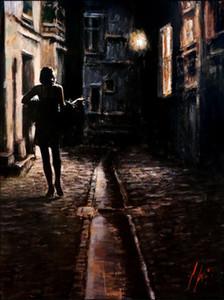 Fabian Perez Большая картина El Paseo Городской пейзаж Art Home Decor расписанную HD Печать Картина маслом на холсте Wall Art Canvas картинки 200229