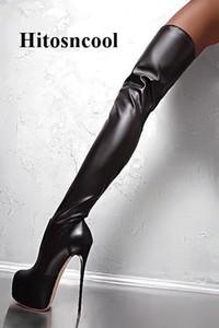 Donne Stivali sopra il ginocchio in pelle nera Runway Street Stivali alti con tacchi alti Abbinamento Nightclub Boot Boot Mujer