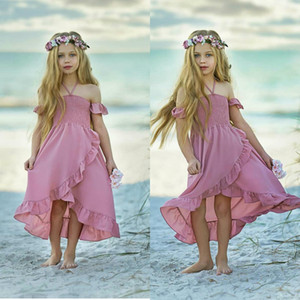 2020 Sexy Halter Dusty Pink Flower Girls Dresses Lovely Hi Lo Short Sleeves Chiffon Beach Boho Kid Formal Wear 2020