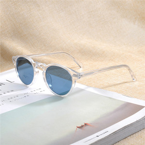 Gregory Peck OV5186 Blau getönte Sonnenbrille Retro-Vintage-Runde Design45-23-150UV400goggles Voll gesetzt Fall OEM Auslass Freeshipping