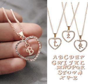 Clássico Rosegold 26 Letter Diamante pavimentada do amor do coração Pendant Colar do alfabeto A-Z inicial Jóias colar letra Womens