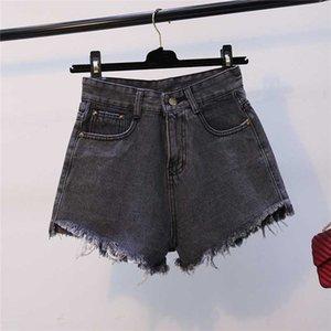 gkfnmt mujeres de la manera cortocircuitos del verano de cintura alta pantalones cortos de mezclilla Jeans Mujeres corto Nuevo Femme flaco dril de algodón delgado de la borla gris