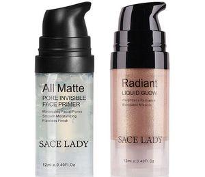 Set de maquillaje de la cara de resaltado Crema Mate Primer Fundación iluminador líquido resplandor compone el kit del reflejo de base cosmética