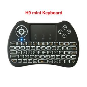 Android TV Box PC için Arka aydınlatmalı Arkadan aydınlatmalı Kablosuz H9 Mini Klavye Hava Fare 2.4GHz Uzaktan kumanda Dokunmatik El çoklu dokunma QWERTY