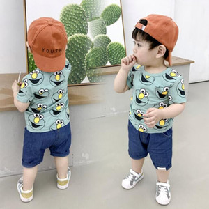 Bambini delle ragazze dei ragazzi che coprono l'insieme estate Elmo del fumetto T-shirt shorts in denim Kids Clothes Toddler Outfits 1 ° Compleanno 2 3 4 Anni