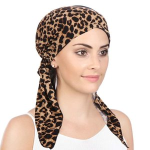 New Lady's Curved Two Tail Caps Muslim Baotou Cap Flower Fabric Hem Cap Leopard Turban Hat Headdress pompom hat