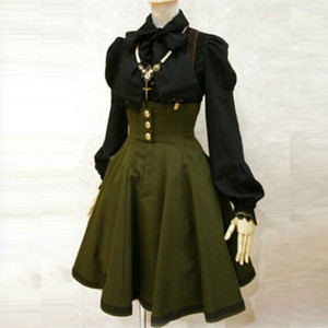 Apperloth Clearance Sale Gothic Dress women high waist overall dresses army green strap back cross pleated dress A-Line Dresses