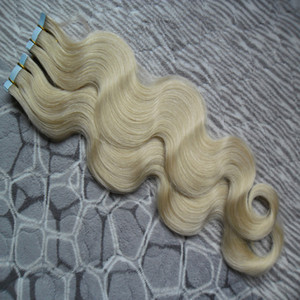 fita de onda do corpo em extensões de cabelo humano 40 pcs virgem do cabelo onda brasileira PU fita de trama da pele na / em extensões de cabelo remy # 60 Platinum Blonde