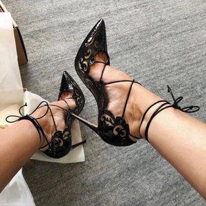 2020 MAIS NOVO Sexy Mulheres Gladiador romano Sandals ver através Shoes céu aberto Tornozelo Cruz Amarrado 12CM Fina salto alto
