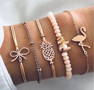 5pcs Lot Charm Bracelets Crystal Beaded Bow Knot Gold Color Link Chain Bracelets Bangles for Women Boho Jewelry