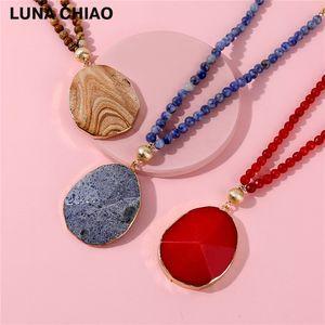 LUNA CHIAO Mode Perlen Kette natürliche Halbedelstein Anhänger Halsketten