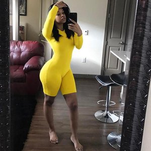 BKLD Fitness Casual Biker Playsuit Bodysuit Long Sleeve Neon Rompers Womens Jumpsuit Shorts Summer 2019 Bodycon Playsuits S-2XL T200113