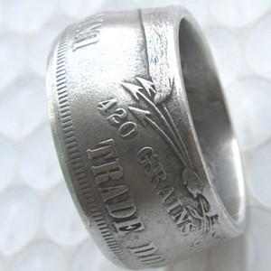 Coin anneau artisanats Anneaux Vintage main de US 1878 Coins Dollar Trade argent plaqué Taille US 8-16 #