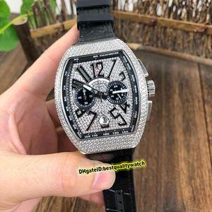 COLEÇÃO alta qualidade homens Vanguard V 45 CC DT BR (TT) diamantes Discar Japão VK Quartz Chronograph Movimento Mens relógio do esporte Relógios