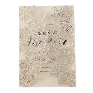 1pcs sample hollow Laser Cut Flower silver glitter wedding invitation cards with Embossed Wholesale greeting pocket invite cover