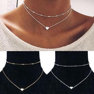 clavicola collana Womens Jewelry GF catena pendente 925 Oro Cuore Choker Chunky Bib Necklace