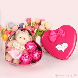 Bear Doll Soap Flower 3 Flowers Heart Romantic Rose Gift Box Valentine Day Wedding Home Decoration Arts And Crafts 4 5mw C R