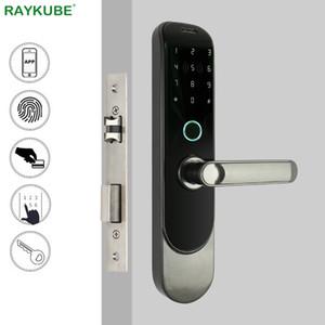 Porte RAYKUBE bricolage biométrique d'empreintes digitales de verrouillage numérique de carte à puce Bluetooth téléphone mobile APP sans clé à pêne dormant Serrure à larder R-GR4 T200111