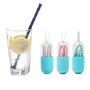 Foldable Silicone Straw FDA Reusable Folding Drinking Straw with Carrying Case and Cleaning Brush for Office Drinks, Car Travel, Home