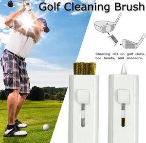Новый 10 шт белый Карманный Выдвижной Golf Club Cleaning Brush Tool - Проводная Щетка клуба Groove Бесплатная доставка