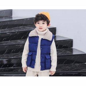 Çocuk Tasarımcı Yelek 2019 Kış Katı Renk Yaka Boyun Çocuk Yelek Erkek Kız Moda Lüks Giyim