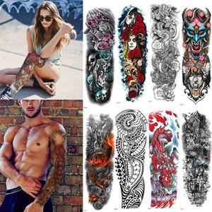 Рукав с полным рукавом Временная татуировка, Восточный дракон, Цветы лотоса, Мужская, Женская