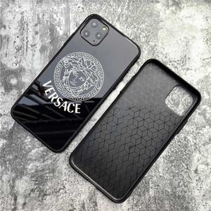 مصمم الهاتف لحالة 2019 فون الجديد 11 / 11Pro / 11Pro MAX الأسود موضة الزجاج المقسى واقية الخلفية غطاء فاخر حالة المضادة للسقوط